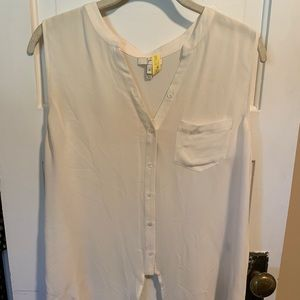 Joie white the front button down sleeveless blouse